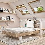 Diagone Plus Cosy, tête de lit avec Rangement, Gain de Place, Bois d'Ingénierie, 140 x 190 cm