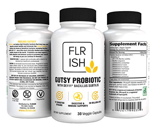Gutsy Probiotic™ with DE111® Bacillus Subtilis for Digestive Balance & Immune Support - Delayed Release Capsules (30 Count)