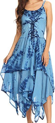 Sakkas 902 Annabella Korsett Bodice Taschentuch Hem Kleid - Blau - One Size Regular