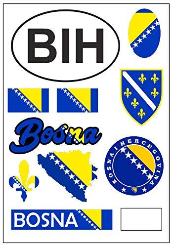 aprom Bosnien Aufkleber Karte Stickerbogen - PKW Auto Fahne Tuning