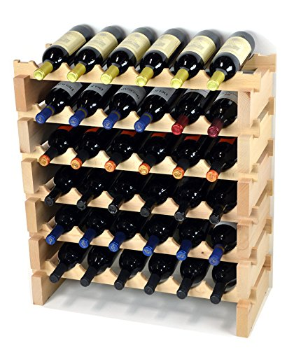 Weinregal aus Holz, 36 Flaschen, modular, Hartholz, Weinregale (6 Flaschen x 6 Regale)