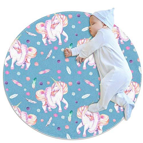 rogueDIV Großer Baby-Teppich mit Einhorn- und Federn, Wasserfarben, rund, warm, weich, Bodenmatte, rutschfest, für Kinder, Kleinkinder, Schlafzimmer, 80 x 80 cm