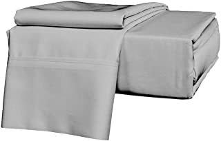 """Bed Sheet Set- 4 PCs Sheet Set Fit Up to (21"""" Inch) Extra Deep Pocket 700 Thread Count (Silvery Grey Solid,Olympic Queen -..."""