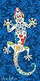 Miracle Home Toalla Microfibra Lagartija Playa 11752, 100% Poliester, Multicolor, 95 X 175 Cm