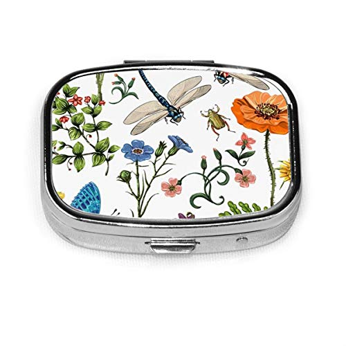 Patrón de verano Plantas botánicas Insectos Flores en estilo vintage Caja de píldora cuadrada de moda personalizada Soporte para tableta Organizador de monedero de bolsillo Caja de decoración Caja