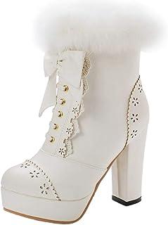 RizaBina Women Sweet Block Heels Booties Dress Boots