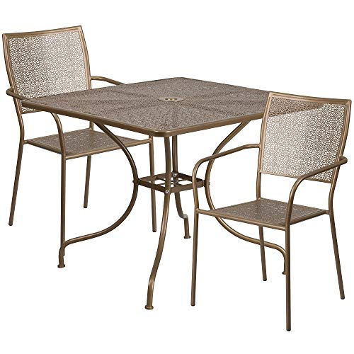 3-Piece Gold Contemporary Outdoor Furniture Patio Table with Square Back Chairs
