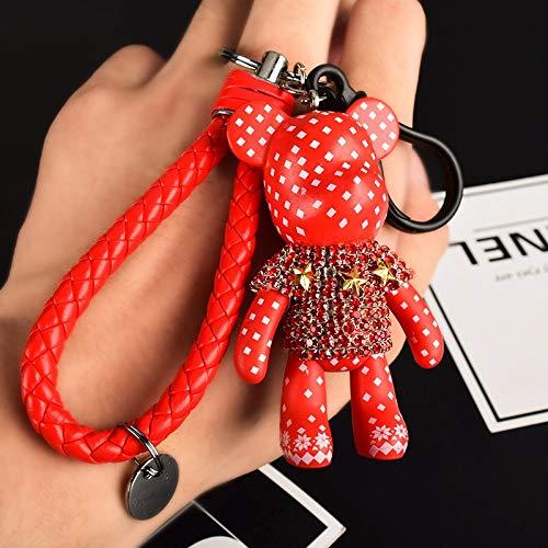 Keychain Cartoon Teddy Bear Cute Crystal Keychain Leather Rope Car Key Holder Bag Charm Holder Keyring Key Ring (Color : Red)