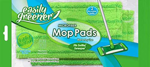 Swiffer Sweeper Compatible, Microfiber Mop Pads by Easily Greener, Reusable Refills for Wet and Dry Use, 2 Count