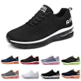Zapatillas Running Hombre Mujer Deportivas Air Zapatos Deportivos Transpirables Sneakers Calzado Deporte Correr Gimnasio Aire Libre Tenis Asfalto Negro Blanco 835BlancoNegro 44