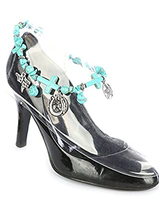 V G S Eternity Fashions Boot Chain ~ Horseshoe Cross Blue Beads Boot Charm Anklet Boot Bracelets for Cowgirl Boots (Boot Charms)