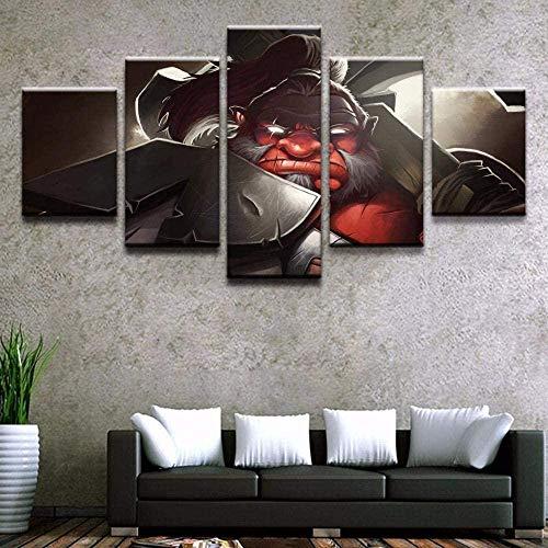 Arte de la pared de la lona 5 piezas Impresiones de la lona no tejida Imagen del cartel del juego Axe Dota 2 Obra de arte enmarcada Pintura Imagen Foto Decoración del hogar
