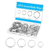 45PCS Loose Leaf Binder Rings, Premium Book Rings Assorted Sizes (Inner Diameter 1, 1.25, 1.5, 2 inch), Nickel Plated Metal Rings Silver for Office School Home with Storage Box