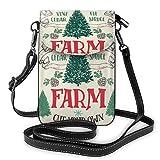 Bolsos cruzados para teléfono móvil, diseño de árbol de Navidad, estilo vintage, con correa ajustable para la vida diaria