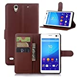 Tasche für Sony Xperia C4 Hülle, Ycloud PU Ledertasche Flip Cover Wallet Case Handyhülle mit Stand Function Credit Card Slots Bookstyle Purse Design braun