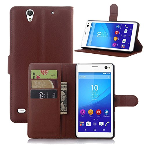 Ycloud Tasche für Sony Xperia C4 Hülle, PU Ledertasche Flip Cover Wallet Hülle Handyhülle mit Stand Function Credit Card Slots Bookstyle Purse Design braun