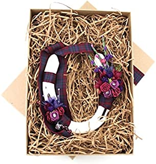 Stunning Handcrafted Lucky Wedding Horseshoe Gift in Burgundy Pride of Scotland Tartan