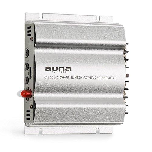 auna C300.2 - Auto Verstärker, 2-Kanal Auto-Endstufe, Car Amplifier, 2 x 100 W RMS, stufenlos regelbar, 2-Band-Equalizer, Multi-Anschluss-Möglichkeit, Frequenzbereich: 20 Hz - 20 kHz, Silber