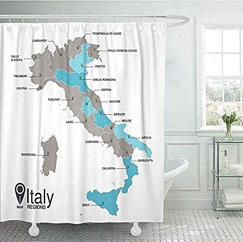 OUJIE Duschvorhang Blaugraue Zusammenfassung Wasserdicht Stoff Anti-Schimmel,inkl12 Duschvorhangringe,Waschbar Badewannevorhang,stielvoll modern farbfest150X180CM
