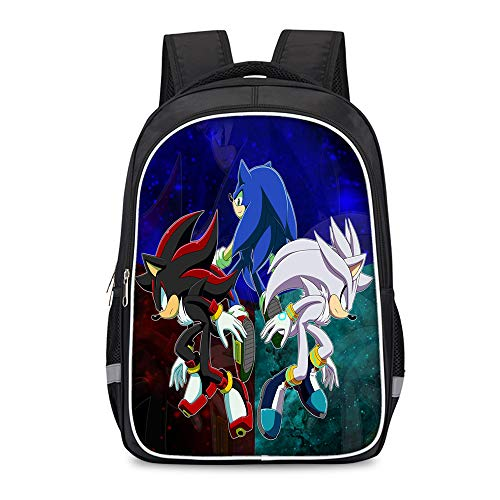 Sonic The Hedgehog Backpack Trekking Backpack Daypack Schoolbag for Boy and Girl Fashion Laptop and Notebook Outdoor Trave Casual Kids (Color : A04, Size : 30 X 17 X 42cm)