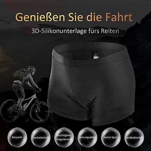 JXJFOZ Radunterhose Herren Gel, Fahrradhose Gepolstert Funktionsunterwäsche Atmungsaktiv 3D Unterhose für Radfahren Reiten Tour (L) - 2
