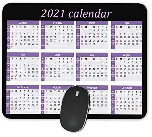 QJ CMJ 2021 Calendar Rectangle Mousepad Gaming Mouse Pad Rubber Oblong Mouse Mat(9.5inchx7.9inch)