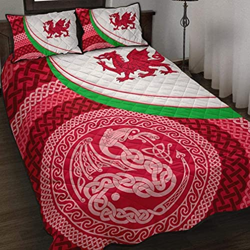 Gift for Family Wales Celtic Quilt Bed Set Welsh Cymru Dragon with Celtic Knot Bedding Set 3 Pieces Quilt Cover with Pillowcase Cover Soft Comfortables Us Throw Twin Queen King Size