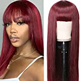 UNice Hair Burgundy Straight Human Hair Wig with Bangs Mongolian Remy Hair Glueless None Lace Front Human Hair Wigs Red for Women 99J Color 150% Density (20 inch)