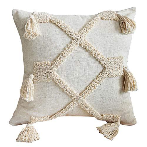 WE-WHLL Funda de Almohada Decorativa Estilo marroquí Borla Tribal Rombo étnico Tejido copetudo Lumbar Funda de cojín Suave para sofá Sofá Dormitorio-B
