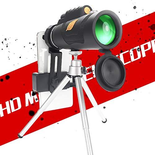 Yiwa verrekijker met enkele buis 12 x 50 zoom monokulair concert voice zang telescoopstang zak jacht optisch bereik, Monocular + mobile phone clip + tripod