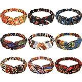 9 Pieces African Headbands Boho Print Headband Twist Knot Elastic Hair Bands Wide Headwrap Vintage Headband Workout Yoga Sports Hair Accessories for Women Girls