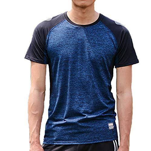 emansmoer Homme Summer Outdoor Quick Dry Wicking Breathable Sports Running T-Shirt Short Sleeve Casual Fitness Gym Tee Shirt(XXL, Dark Blue)