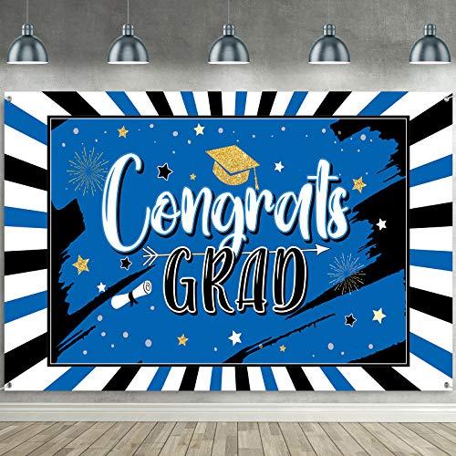 Sumind Decoración de Bandera Telón de Fondo de Fiesta de Graduación de Negro y Azul Bandera Cartel Grande de Tela de Congrats Grad Telón de Fondo de Fotografía de Felicitación de Graduación de 2021