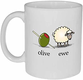 Olive Ewe I Love You Funny White Ceramic Coffee or Tea Mug