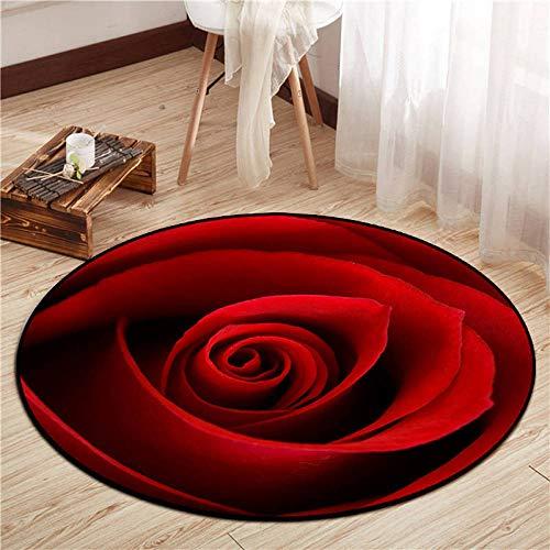 Non-Slip Piel de Imitación,Alfombra Redonda con Estampado Floral de cabecera de Dormitorio 3D-Borgoña A_100cm,Oveja de Piel sintética Felpudo Alfombra