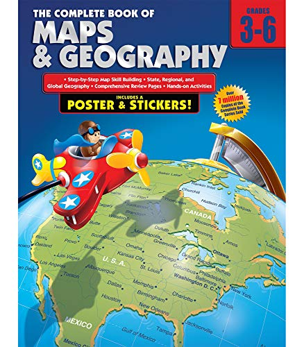 Carson Dellosa The Complete Book of Maps and Geography Workbook―Grades 3-6 Social Studies, State, Regional, Global Geography and Map Skills Activities (352 pgs)