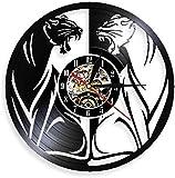 GODYS Reloj de Pared con diseño de Pantera Negra, Bestia de Animales de Vida Salvaje Africana, Silueta de Pantera de la Selva, tótem Animal, Reloj de Pared con Registro de Vinilo, sin LED