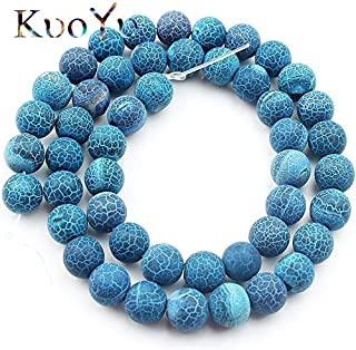 Natural Stone Beads, Natural Stone Frost Dark Blue Cracked Dream Fire Dragon Veins Agates Onyx Beads 6/8/10Mm Round Loose Beads for Jewelry Making - (Dia:10Mm 36Pcs Beads)
