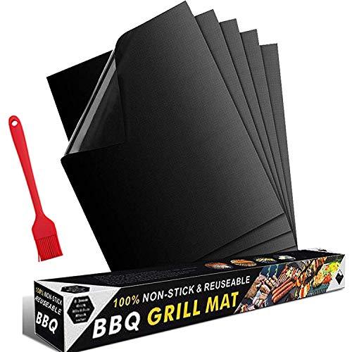 HyAdierTech BBQ Grillmatte 5er Set + Silikon Backpinsel, 100% Antihaft BBQ Grillmatten Backmatte, und Backmatte Wiederverwendbar PFOA-Frei, Perfekt für Fleisch, Fisch und Gemüse