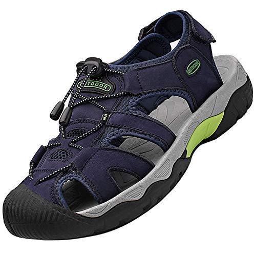 Topwolve Sandalias Deportivas para Hombre Verano Exterior Senderismo Zapatos Transpirable Peso Ligero Cuero Sandalias de Playa Trekking Casual Antideslizantes Zapatos de Montaña,Azul,46 EU