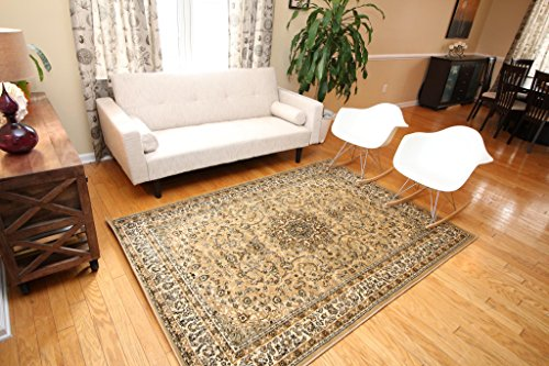 Beige Traditional Isfahan Wool Persian Area Rugs