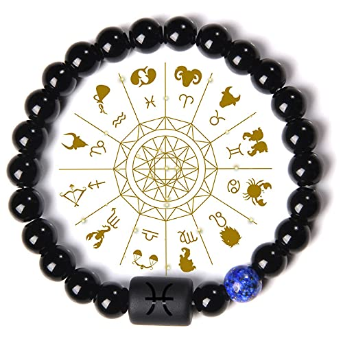 Constelación Signos del Zodiaco Charm Bracelet Hombres Natural Black Onyx Stone Beads Brazaletes Elásticos Amistad Joyería Mujeres Pulsera