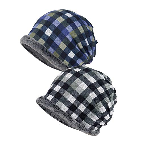 Hangnuo Plaid Slouchy Beanie Winter hoeden Infinity loop sjaal fleece gevoerd warm Baggy schedel muts