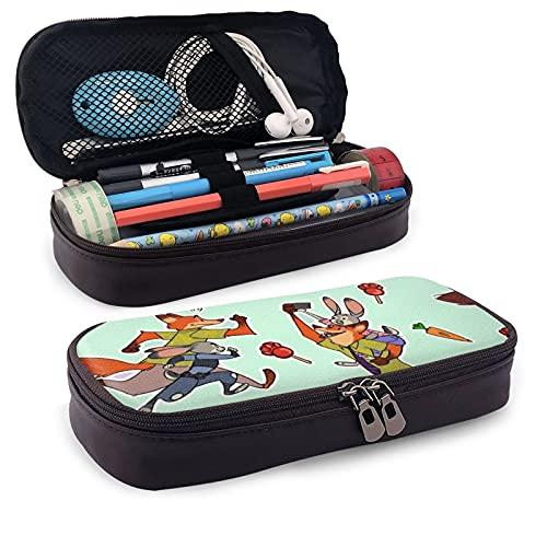 Zootropolis - Estuche de piel sintética para lápices de anime (gran capacidad, bolsa de papelería, bolsa de almacenamiento, bolsa de maquillaje, con cremallera, color marrón