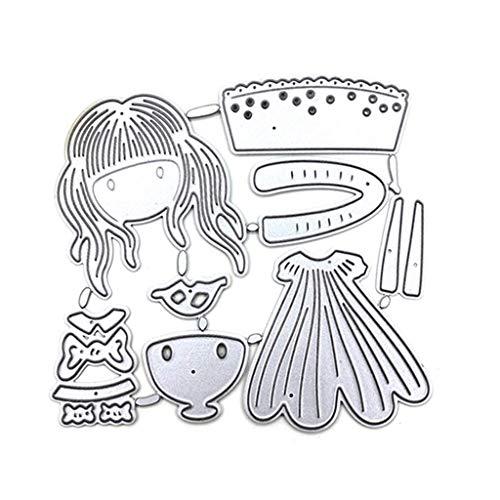 KunmniZ Hermosa Chica de Metal STAME STAME STEBIL Scrapbooking Album Papel de Sello DIY Art Craft Decoración para el hogar Regalo Ideal