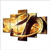65Tdfc Stampe E Quadri su Tela Il Goku Illuminante per Uso Domestico A 5 Blocchi da Parete E Il Drago di Lago Lungo Shen È Una Cornice in Tela Stampata con Poster di Cartone Animato