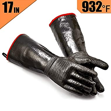 RAPICCA Griller BBQ Waterproof Oil/Heat Resistant Insulated Cooking Gloves for Barbecue/Grill/Smoker/Fry Turkey/Pot Holder/Oven mitt/Baking,Neoprene Coating with Textured Palms Long Sleeve (17-Inch)