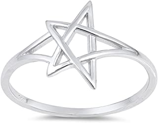 Pentagram Star Ring New .925 Sterling Silver Criss Cross Knot Band Sizes 4-10