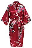 USDisc't Elegant Women's Kimono Robe for Parties Bridal and Bridesmaid Short (XL, Red)