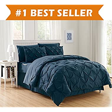 Luxury Best, Softest, Coziest 8-PIECE Bed-in-a-Bag Comforter Set on Amazon! Elegant Comfort - Silky Soft Complete Set Includes Bed Sheet Set with Double Sided Storage Pockets, Full/Queen, Navy